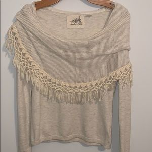 ANTHROPOLOGIE ANGEL OF THE NORTH SWEATER CROCHET S